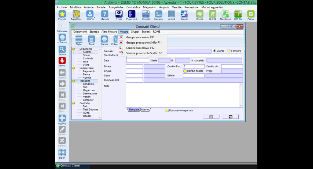 """Distribution: esempio di finestra """"Contratti clienti"""" del software Distribution, per gestire le vendite"""