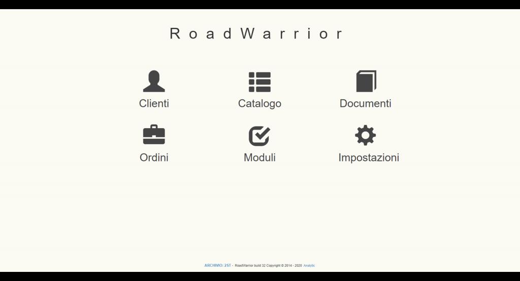 Road Warrior: schermata principale con elenco moduli